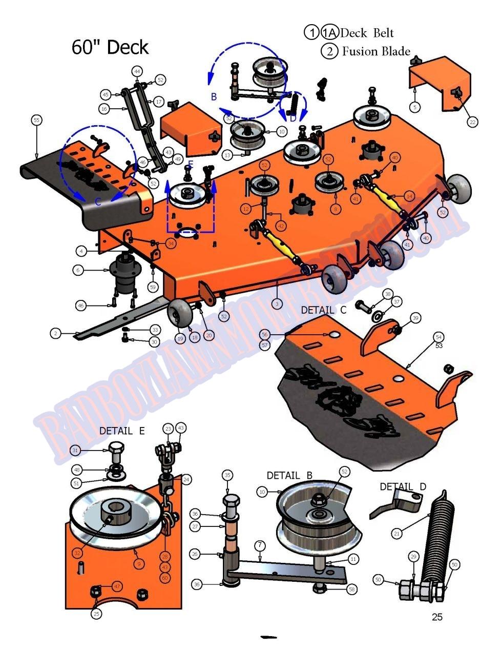 "SureFit 60/"" Deck Drive Belt 041-0219-00 Bad Boy AOS EZ Ride Mower 60/"" Cut 2PK"